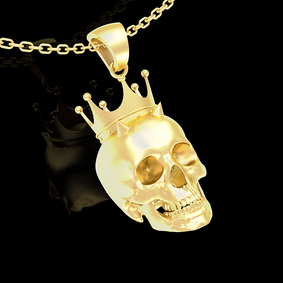 Royal Skull Pendant jewelry Gold 3D print model