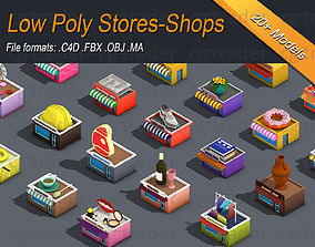3D model Low poly Stores Shops