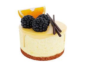 3D Orange cake with blackberries
