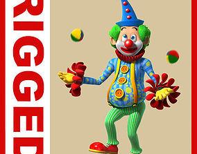 3D Clown cartoon rigged 02 humor