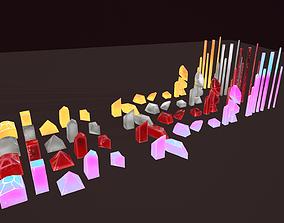 21pcs Crystals Low-poly pbr 3D model
