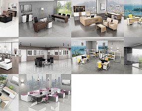 10 Office Interior Pack Collection computer 3D model