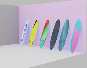 3D asset low-poly surfboard
