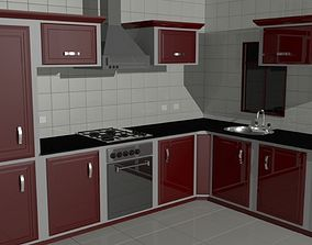 Red and Traditional Kitchen 3D asset