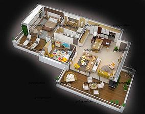 floorplan 3d floor plan detailled modern
