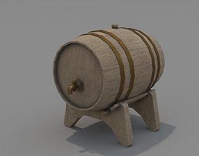 3D asset game-ready PBR Wooden Barrel decoration
