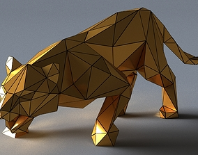 low-poly tiger lowpoly 3D print model