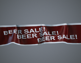 Four Hanging Banners 3D asset