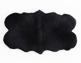 Forsyth Sheepskin Rug Black 3D