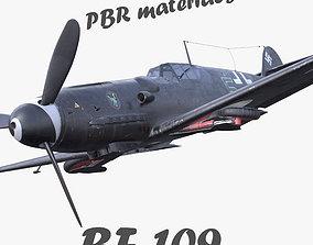 BF-109 German fighter PBR materials 3D model VR / AR ready