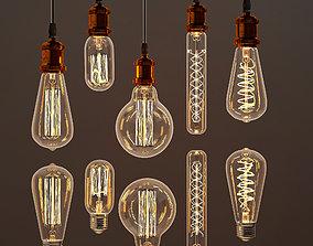 Edison lamps collection set 3D model