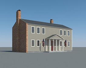 3D model Colonial House 001