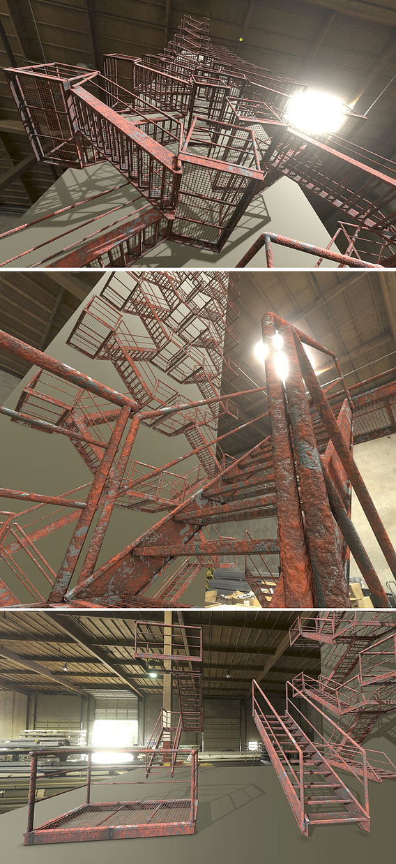 Modular Industrial Staircase Rusted Low-Poly Version