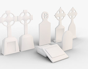 VR / AR ready Tombstone Set Low Poly Game Asset Free
