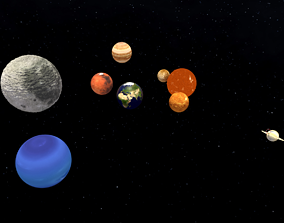 Solar system space and planets 3D model