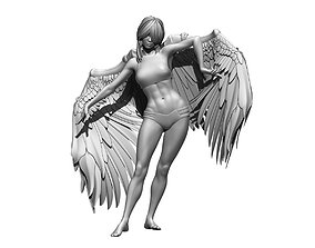 Woman statue angel wing poses 3D model