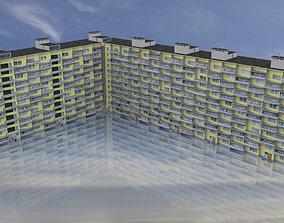 3D model 12 Storey Soviet Apartment Building