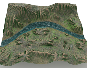 Shallow Canyon With River Landscape 3D