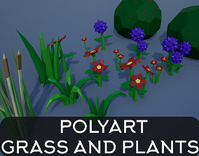Lowpoly Polygon Grass and Plants 3D asset