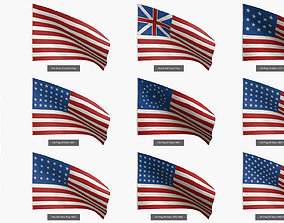 Stars and Stripes US Flags Collection 3D