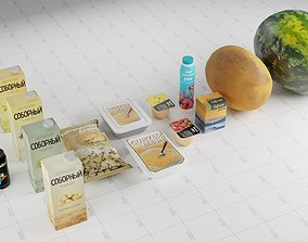 3D Different Food Products Assets
