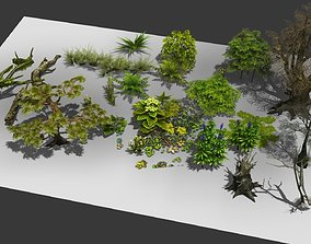 3D model a group plants bushes flower