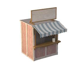 3D Wooden Stall Kiosk
