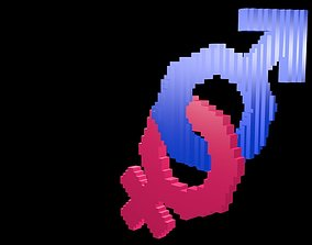 Symbols of gender voxel 4 3D