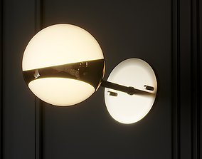 Pair of Brass and Opaline Glass Italian Sconces 3D model 1