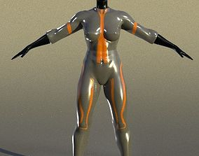 3D model girl hero black woman