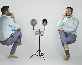 3D asset Man in shirt sitting and talking on mobile phone