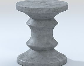 Blok Concrete Chess Stool Side Table Outdoor Accent 3D