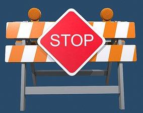 3D asset rigged Traffic Alert Road Block Sign