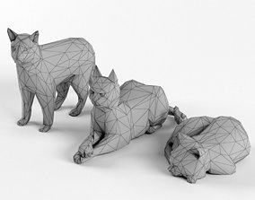 Low Poly Cat Set Animal Lowpoly 3D model
