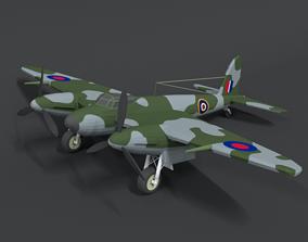 Low Poly Cartoon De Havilland DH 98 Mosquito WWII 3D asset