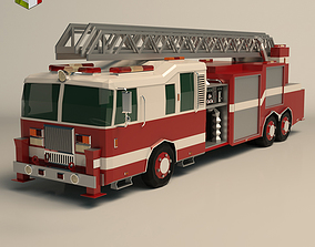 3D model realtime Low Poly Fire Truck
