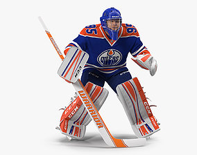 Edmonton Oilers Hockey Goalkeeper Attention Pose 3D model