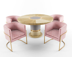 3D model Julius chairs and Lune table metal