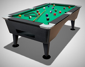 Pool Table with Balls and Cue 3D model
