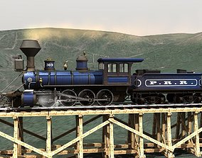 PRR 2-8-0 Steam Locomotive and Tender - STATIC MODELS 3D