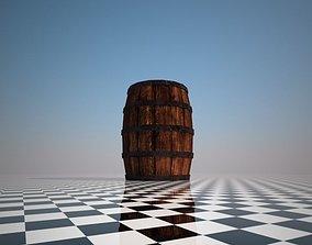 Low-poly barrel 3D asset