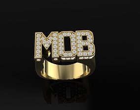 3D printable model MOB text diamond ring for rapper