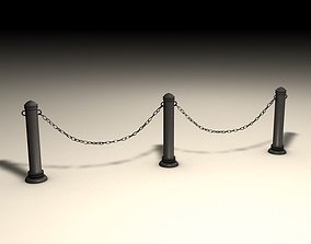 Stanchions and chain barrier 3D