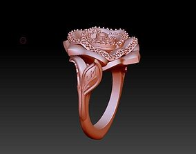 3D print model Rose flower ring with leaves