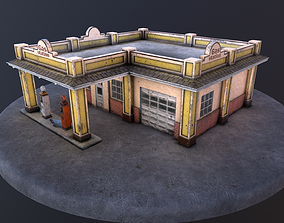 Old gas station and old gas pump 3D model