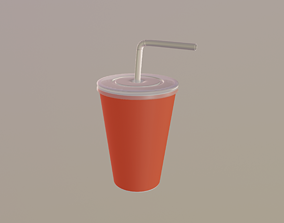 straw Drink Cup 3D model VR / AR ready
