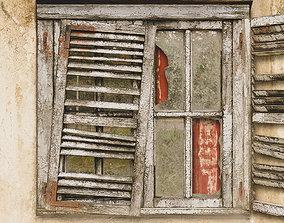3D model Old broken wooden window