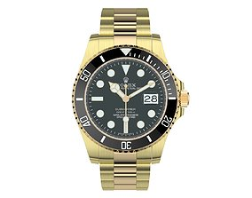 Rolex Submariner Date Yellow Gold Black Plate 3D model