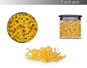 Pasta spiral storage containers 3D model realtime