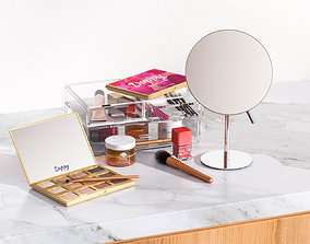 Make-up set with a mirror tableware 3D model